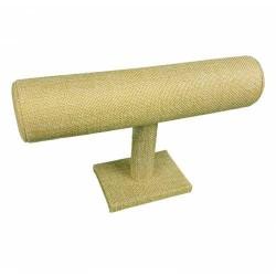 10 présentoirs en forme de T pour bracelets en toile de jute beige - 6411x10