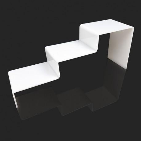 Support escalier en acrylique blanc 3 marches - 7301