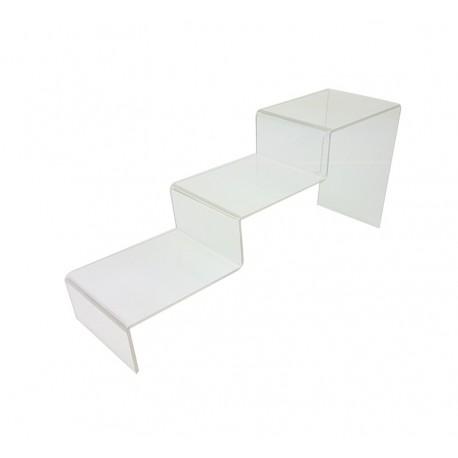 Support escalier en acrylique transparent 3 marches - 7302