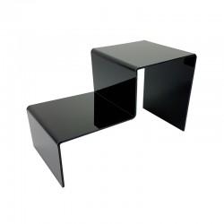 Présentoir bijoux en acrylique noir 2 marches - 7303