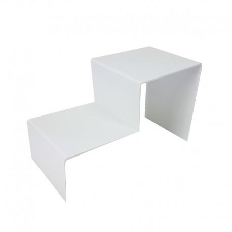 Présentoir bijoux en acrylique blanc 2 marches - 7305