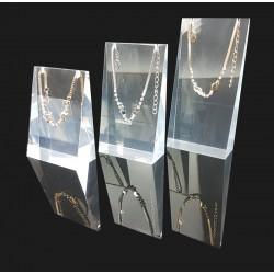 Lot de 3 volumes en acrylique transparent pour colliers et chaînes - 7300