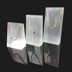 Lot de 3 supports en acrylique opaque pour colliers et chaînes - 7304
