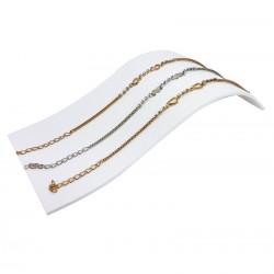 Présentoir toboggan en acrylique blanc pour bracelets, colliers et montres- 7338