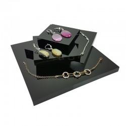 Lot de 4 volumes carrés en acrylique noir - 7340