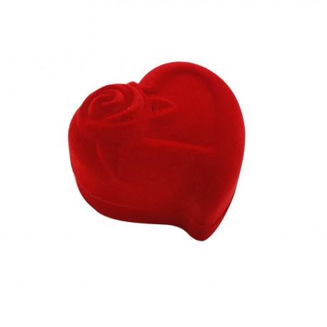 1 écrin pour bagues en velours rouge en forme de coeur avec rose - 10067