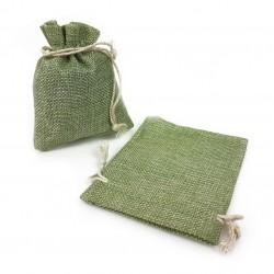 10 bourses cadeaux en jute de couleur vert amande 8x7cm - 5502