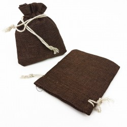 10 bourses cadeaux en jute de couleur marron chocolat 8x7cm - 5500