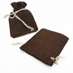 10 bourses cadeaux en toile de jute marron chocolat 11x10cm - 5503