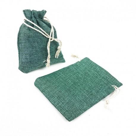 Lot de 10 bourses en jute de couleur vert lagon 15x12cm - 5507