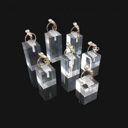 Set de 7 plots pour bague en acrylique transparent - 4474