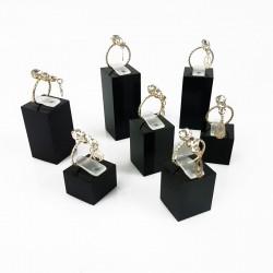 Set de 7 plots pour bague en acrylique noir - 4473