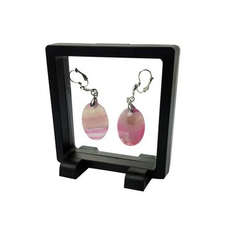 Porte bijoux effet suspendu de couleur noire 9x9cm - 7362