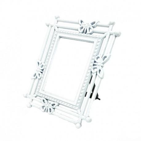 Mini cadre photo blanc décor papillon pour affichage prix - 7373