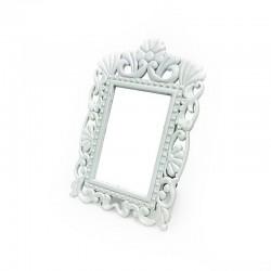 Mini cadre photo blanc décor fleur pour affichage prix - 7370