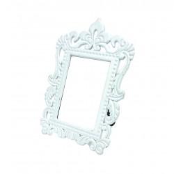Mini cadre photo blanc décor baroque pour affichage prix - 7371