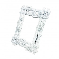 Mini cadre photo blanc décor bois pour affichage prix - 7372