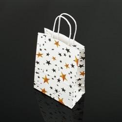 12 petits sacs en papier kraft blanc décor étoiles 15x21x8cm - 7391