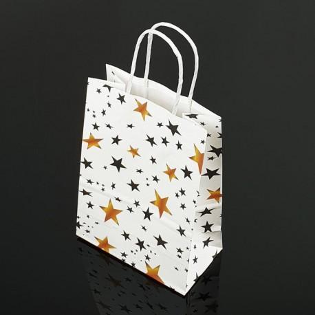 12 sacs papier kraft lisse blanc décor étoiles 18.5x9.5x25.5cm - 7392