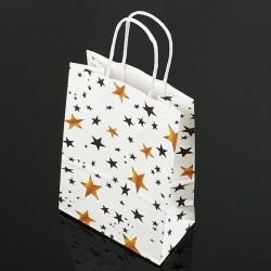 Lot de 12 grands sacs en papier kraft décor étoiles 25.5x33x12cm - 7393