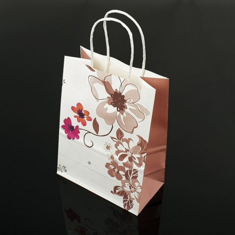 12 petits sacs en papier kraft à fleurs décor soufflet taupe 15x21x8cm - 7394