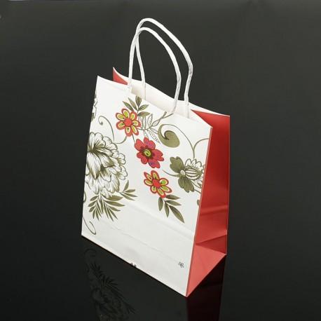 12 petits sacs en papier kraft à fleurs décor soufflet rouge fraise 15x21x8cm - 7396