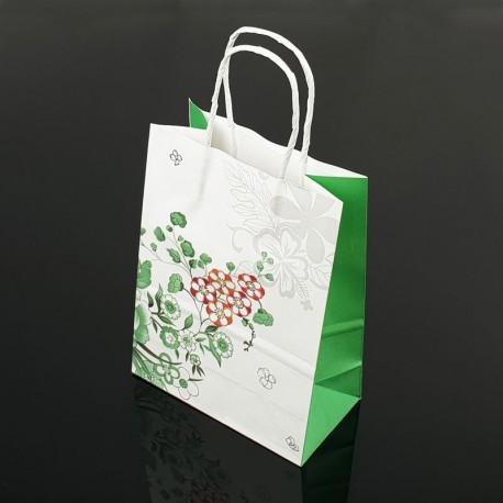 12 petits sacs en papier kraft à fleurs décor soufflet vert menthe 15x21x8cm - 7397