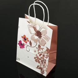 12 sacs papier kraft à fleurs décor soufflet couleur taupe 18.5x9.5x25.5cm - 7398