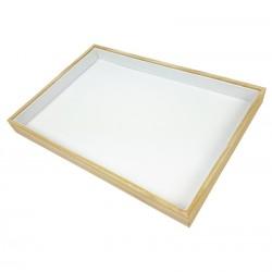 Plateau de présentation en bois et simili cuir blanc - 7423