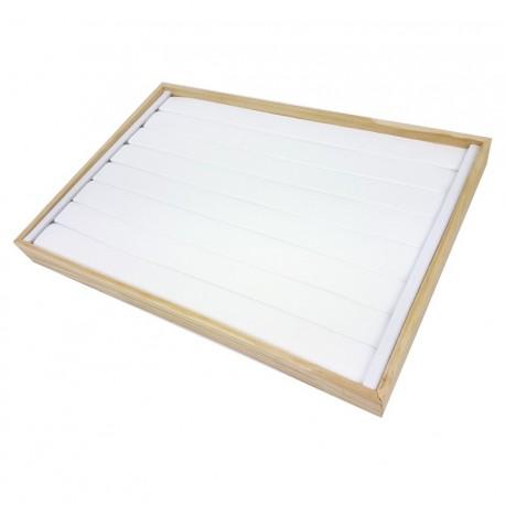 Plateau pour bagues en bois et simili cuir blanc - 7429
