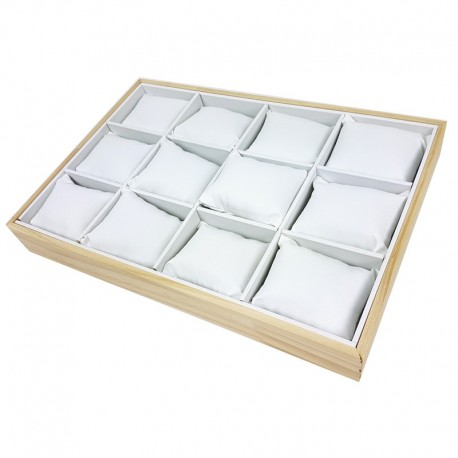 Présentoir à coussins pour montres en bois et simili cuir blanc - 7420