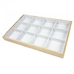 Plateau bijoux en bois et simili cuir blanc à casiers - 7419