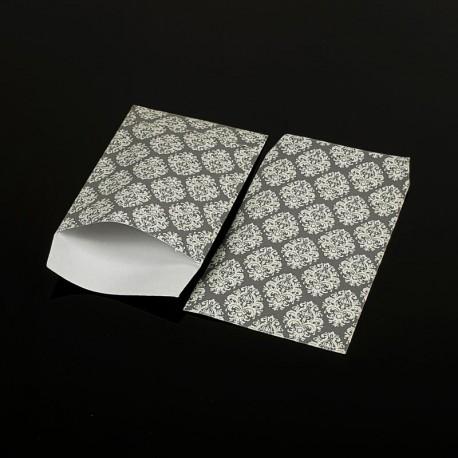 100 petits sachets cadeaux papier gris 10x6cm motif baroque - 8042
