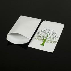 100 petits sachets cadeaux papier blancs 10x6cm motif arbre de vie - 8041
