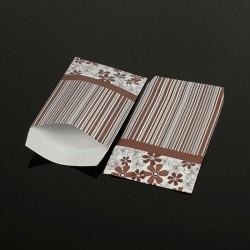 100 petits sachets cadeaux papier marron 10x6cm motifs rayés et fleurs - 8043