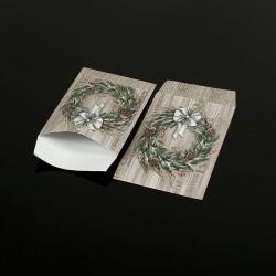 100 petits sachets cadeaux papier 10x6cm motif couronne de Noël - 8047