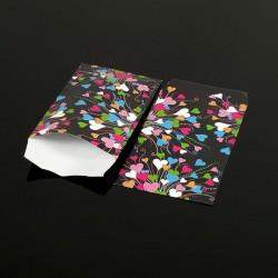 100 petits sachets cadeaux papier noirs 10x6cm coeurs multicolores - 8048