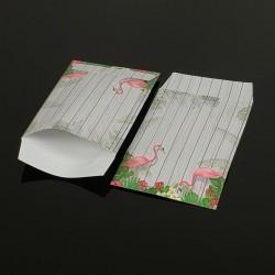 100 pochettes cadeaux 13.5x7cm motif tropical - 8049