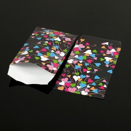100 pochettes cadeaux 13.5x7cm motif coeurs multicolores - 8050