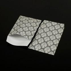 100 pochettes cadeaux grises 13.5x7cm motif baroque - 8052