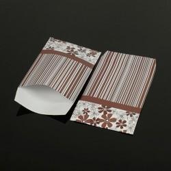 100 pochettes cadeaux marron 13.5x7cm motif rayures et fleurs - 8054