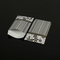 100 pochettes cadeaux grises 13.5x7cm motifs fleurs et rayures - 8055