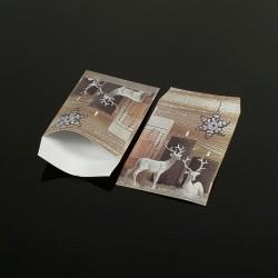 100 petits sachets cadeaux papier 10x6cm motif rennes de Noël - 8046