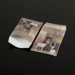 100 pochettes cadeaux 13.5x7cm motif Rennes de Noël - 8056
