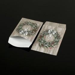 100 pochettes cadeaux 13.5x7cm motif Couronne de Noël - 8057