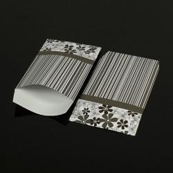 Lot de 100 sachets cadeaux gris motifs rayures et fleurs 17x11cm - 8060