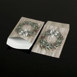 Lot de 100 sachets cadeaux motif Couronne de Noël 17x11cm - 8063