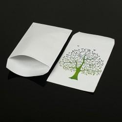 Lot de 100 sachets cadeaux blancs motif arbre de vie 17x11cm - 8062