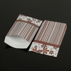 Lot de 100 sachets cadeaux marron motifs rayures et fleurs 17x11cm - 8065