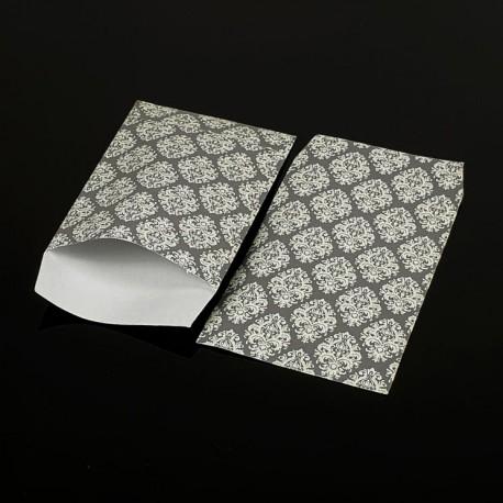 Lot de 100 sachets cadeaux gris motif baroque 17x11cm - 8066